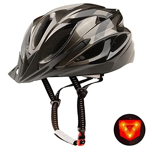 Shinmax Casco Bici,Certificata CE Casco Bici Uomo Donna Ciclismo,Casco Bici con Visiera Casco Bici con Luce di LED,Ultraleggero Taglia Regolabile Adulto Casco Bici,Skateboarding Sci &Snowboard 56-62CM