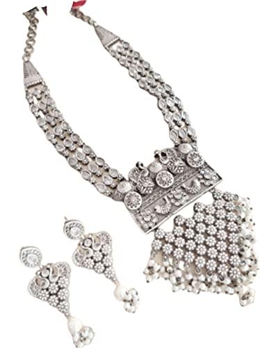 Juego de collar de perlas de pavo turquesa con pendientes a juego, color gris