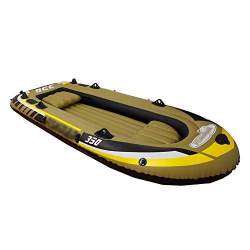 Canness Aufblasbares Kajak Set 4 Person 340 kg Kapazität aufblasbares Boot mit Pumpe Angeln Schlauchboot 305x136x42cm Kanu Fischerboot (Color : Brown, Size : 305x136x42cm)