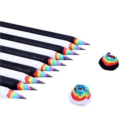 Yalulu 10 Stück Regenbogen Mehrfarbig Entwurf Schreiben Malen Zeichnen Hochwertiges Schreiben Schüler Bleistift
