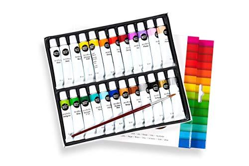 perfect ideaz 24 Tuben á 12 ml Acryl-Farbe-Set Bunt mit Pinsel, 22 Verschiedene Kreativ-Mal-Farben, Hoher Anteil an Farb-Pigmenten, Acrylic Paint Hoch-Deckend & Schnell-Trocknend, Zum Malen & Zeichnen