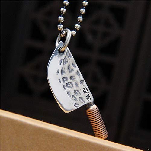 FOOSKOO Colgante Hombre Collares for Hombres Silver Sterling joyero joyero Cuchillo Caja de Cocina Pendiente con Cadena Colgantes Collares con Caja de Regalo