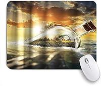 PATINISAマウスパッド オーシャンシードリフトボトルカニサンセット ゲーミング オフィス おしゃれ 防水 耐久性が良い 滑り止めゴム底 ゲーミングなど適用 マウス 用ノートブックコンピュータマウスマット