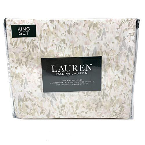 Lauren King 4 Piece Sheet Watercolor Brush Stroke Olive Grey Blush Taupe on White 100% Cotton