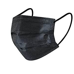 50Pcs Disposable Face Masks, 3 Ply Disposable Masks, Black Face Mask