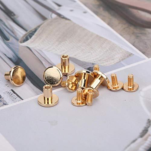 DAUERHAFT Remache de Cabeza Plana de Larga Vida útil para Manualidades de Cuero de Bricolaje para Accesorios(8mm Ledger Nail Gold)
