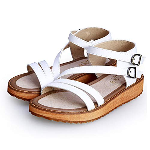 Sandales d'été décontractées à Plateforme pour Femmes en Similicuir à Double Boucle Sandale Gladiateur à Talons Hauts
