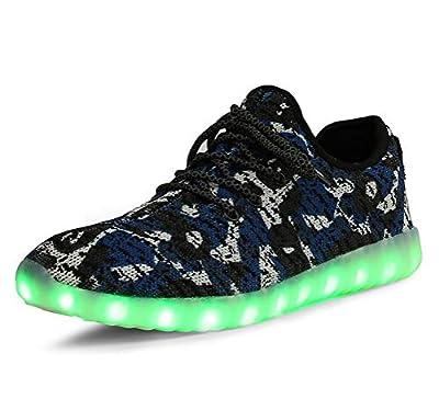 Men Women Camouflage Mesh Light Up LED Sport Shoes Knit Tennis Sneakers for Dance (Blue Camo - 45/14 B(M) US Women / 10.5 D(M) US Men)