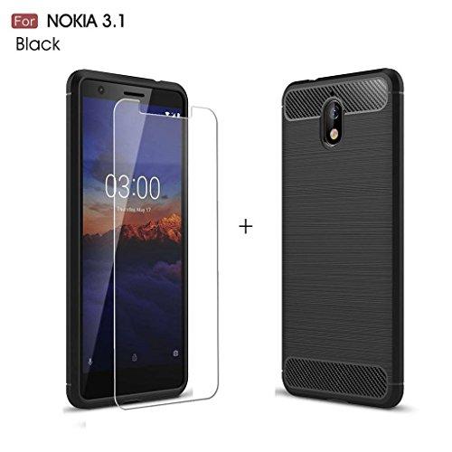 LJSM Nokia 3.1 Hülle Schwarz Kohlefaser + Panzerglas Bildschirmschutzfolie Schutzfolie - Weich Silikon Schutzhülle Crystal Flexibel TPU Tasche Hülle für Nokia 3.1 2018 (5.2