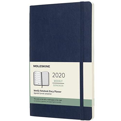 (modello precedente) - Moleskine 12 Mesi, anno 2020 Agenda Settimanale, Copertina Morbida e Chiusura ad Elastico, Colore Blu Zaffiro, Dimensione Large 13 x 21 cm, 144 Pagine