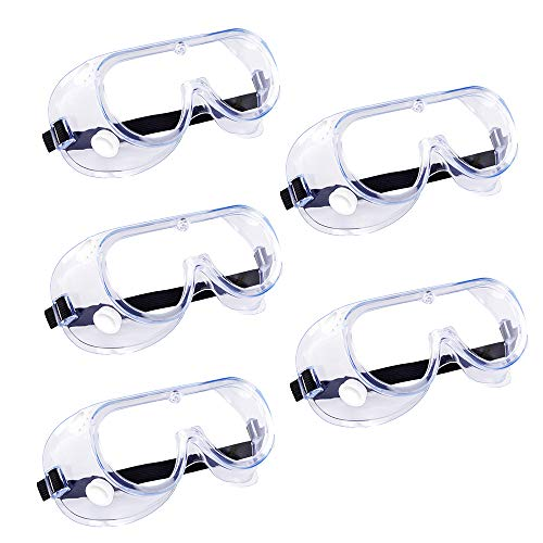 5 Pack Safety Goggles, Protective Safety Glasses, Soft Crystal Clear Eye Protection - Perfect for Construction, Shooting, Industrial, and More