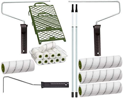 Colorus Maler-Set 21 tlg | Farbroller 25 cm, 18 cm, 10 cm | Farbwalzen-Bügel, Abstreifgitter 27 x 29 cm | Maler-Teleskopstange 0,80-1,30 m | Malerset Malerwerkzeug