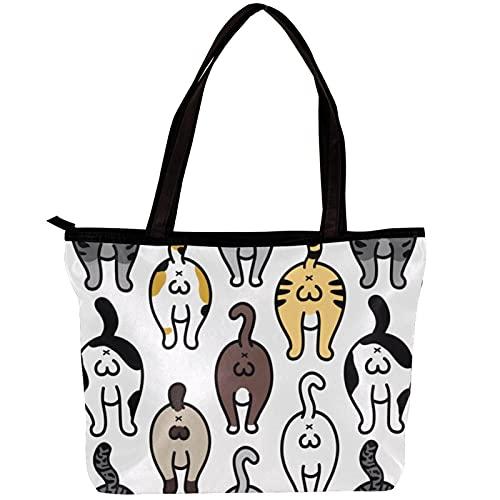 FuJae Sacs fourre-tout en toile pour femmes Chat cul chat doodle de races de chat Sac de plage Sac shopping pour le travail Voyage Usage quotidien