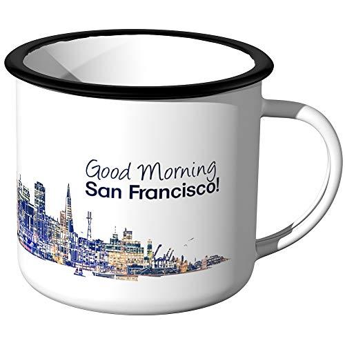 JUNIWORDS Emaille-Tasse, Guten Morgen San Francisco, Skyline Nachtlichter, Schwarzer Tassenrand