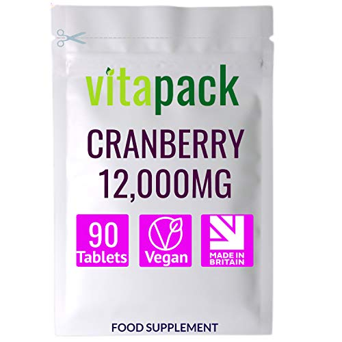 Cranberry Tablets 12,000mg - 90 Vegan Tablets Per Pack - Daily Cranberry Extract Supplement - Extract Equal to 12,000mg of Fresh Cranberries - Made in The UK
