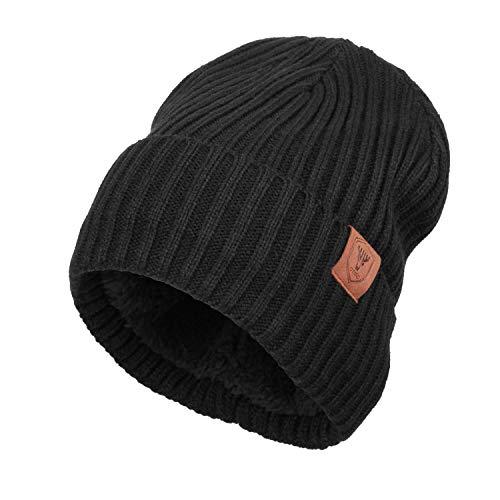 OZERO Knit Beanie Hat Winter Thermal Polar Fleece Snow Skull Cap for Men and Women Black