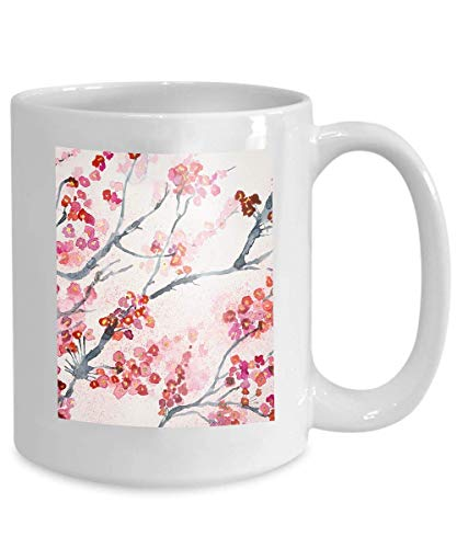 Mug Coffee Tea Cup Branches Cherry Blossoms Dabbing Technique Gives Soft Focus Effect Due to Altered Surface Roughness Paper Happy 110z