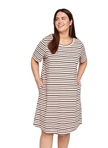 Zizzi Große Größen Damen Kurzarm Kleid mit Streifen Gr 54-56 Rosa