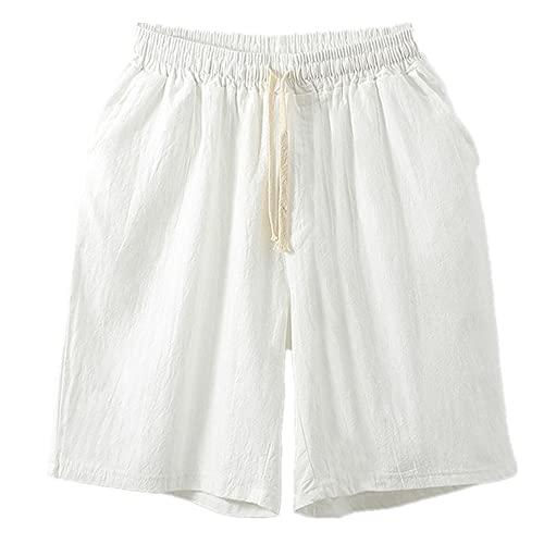N\P Pantalones cortos de primavera y verano, pantalones casuales para hombre, pantalones de lino, pantalones de verano sueltos de cinco puntos