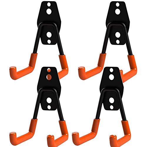 Doppelhaken für die Garage, Packung mit 4 Garagenaufbewahrungshaken Wandhalterungs-Aufhängehaken mit robuster Wandhalterung Aufbewahrungsorganisator-Werkzeughalter mit rutschfester Beschichtung