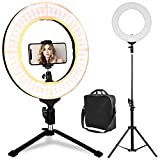 LED Ring Light with Stand, Table Top Halo Light Ring, Live Video Lighting Kit Bi-Color Dimmable CRI 90+ Adjustable w/Phone Holder, YouTube Studio Makeup (14 Inch)