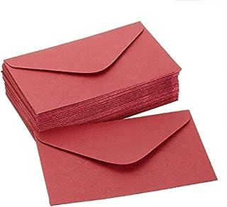 CHUJIAN 50pcs Vintage Colored Blank Mini Kraft Paper Envelopes Wedding Party Invitation Envelope Greeting Card Gift 4 Colo...