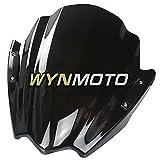 WYNMOTO Double Bubble Motorbike Windscreens Fit for ER-6N er6n 2009 2010 2011 Windshield Black