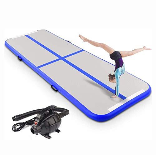 qmj Aufblasbare Gymnastikmatte Air Tumbling Track Turnen Matte Yogamatte Turnmatte Fitnessmatte Bodenmatte Trainingsmatten Sportmatratzen Elektrische Luftpumpe,500X100X10cm