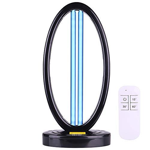 Lampada uv germidica Aubini Lampada Uv Sterilizzazione UV-C Ozono + Occhiali UV Disinfezione da Virus, Batteri, Acari, 2 Neon 38W, Controllo Remoto/Manuale 5/30/60Min