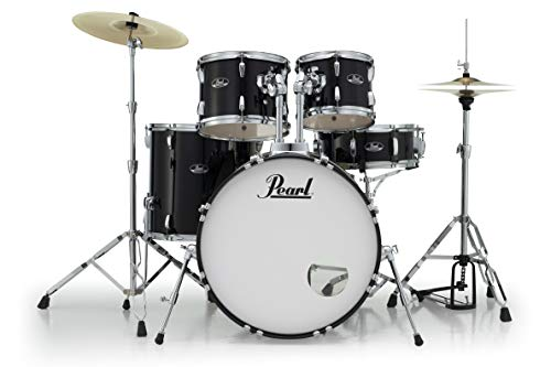 Pearl Roadshow 5-Piece Complete Drum Set with Cymbals and Stands, Jet Black, (RS525SC/C31)