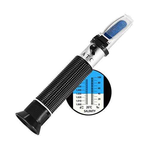 V·RESOURCING Meerwasser Salzgehalt Refraktometer, Handheld Messgerät Salinometer Refraktometer 0-10% Salinitäts-Refraktometer & Spezifisches Gewicht 1,000~1,070 für Salzwasser Aquarium, Hydrometer