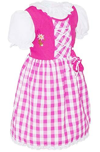 Dirndl da bambina con sacchettino, in 3 parti con sottoveste, camicetta e corsetto Pink Grosskaro 86...
