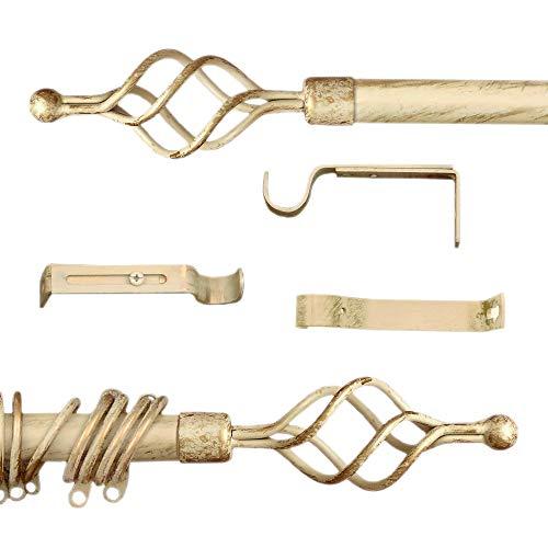 AT17 Gardinenstange Vorhangstange Gardinenstange Variable Länge Landhaus Shabby Chic - Unendlichkeit/Spirale - 160-300 - Durchmesser 2 cm - Elfenbein Dunkel/Gold - Metall