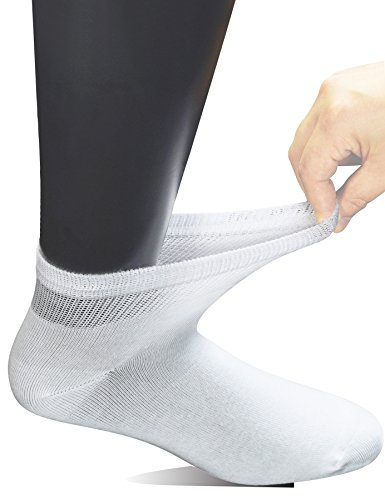 Yomandamor Men's 6 Pairs Combed Cotton Diabetic Ankle Socks with Seamless Toe and Non-Binding Top