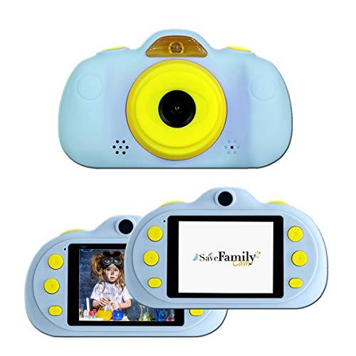 SaveFamilyCam. Cámara de Fotos para Niños. Cámara de vídeo Infantil. Cámara Digital SaveFamily Infantil. Gratis Tarjeta de Memoria. Marca española. Selfies, filtros, Juegos y MP3. Azul.