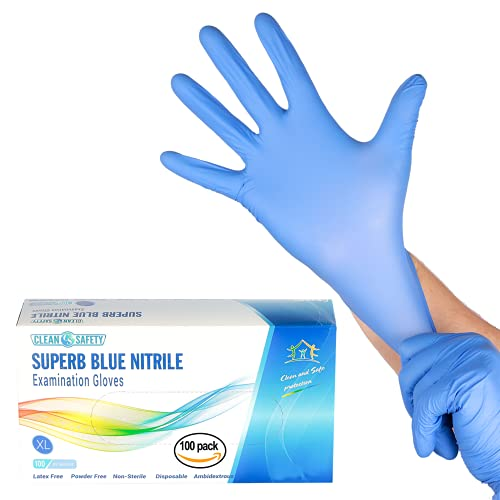 Superb Blue Nitrile Powder Free Examination Gloves, Single Use, X-Large, 100 Pack, Latex Free, Powder Free, Non-Sterile, Disposable, Textured Fingertips, Beaded Cuff, Synthetic Nitrile Rubber (NBR)