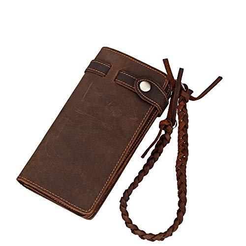 FAGavin Bedeckte Herrenbrieftasche Leder Weiches Gesicht Lange Herrenbrieftasche Braun Einfache Beiläufige Leder Geflochtenen Seil Dekoration