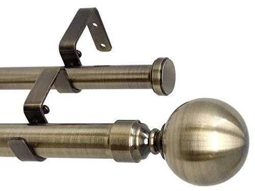 "Urbanest Steel Ball Flat Button 1"" 3/4"" Double Drapery Curtain Window Rod Set - 84"" to 120"", Antique Brass"