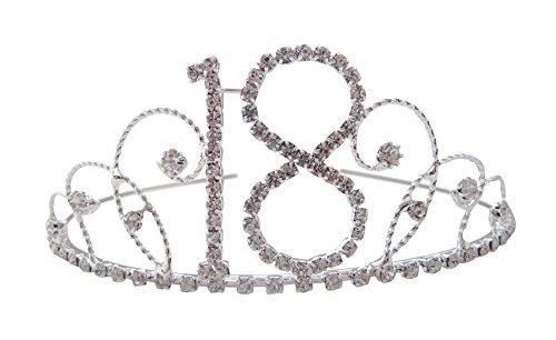 Pick A Gem Hair Accessories Silver Clear Diamante Crystal 18th Birthday Tiara Crown / Happy 18th Birhday by Pick A Gem Hair Accessories