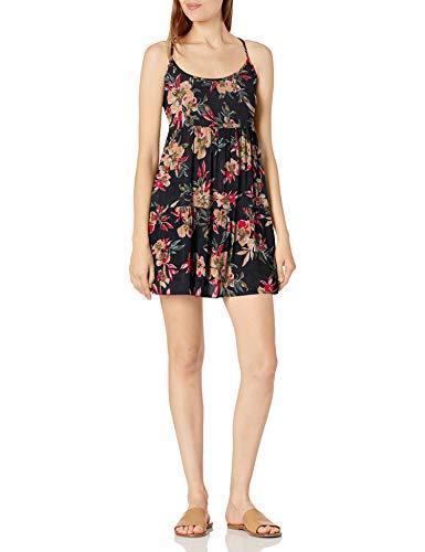 Roxy Print Sand Dune Cover Up Dress Salida de Bao, Antracita Wonder Garden S, Mujer