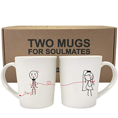 BOLDLOFT Tie the Knot His & Hers Wedding Coffee Mugs-Wedding Gifts for Couples,Wedding Gifts for Bride and Groom,Engagement Gifts for Couples,Bridal Shower Gifts