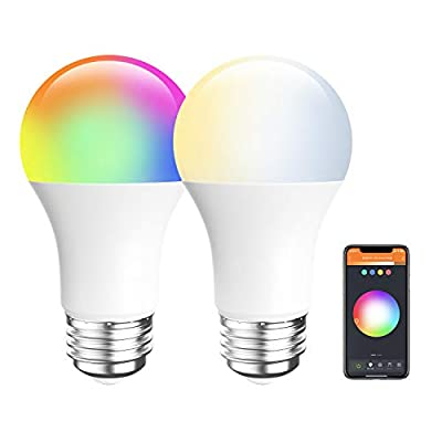 Amico LED Smart Light Bulb, RGB Color Changing WiFi Bulb(2.4G), No Hub Required,Compatible with Alexa, Siri, Google Home, A19 E26 9W=60W (2 Pack)