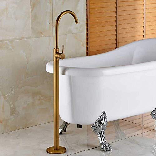 Duschsystem, Messing, goldfarbene Wannenarmatur, Bodenmontage, Einpolig, schwenkbarer Auslauf, Badewanne, Mischbatterie, Krallenfuß, freistehend, Braun