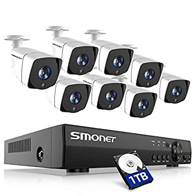 SMONET Wired Security Camera System,8 Channel 5-in-1 DVR Outdoor Camera System(1TB Hard Drive),8pcs Weatherproof Security Cameras,Super Night Vision,Free APP,Easy Remote View,P2P