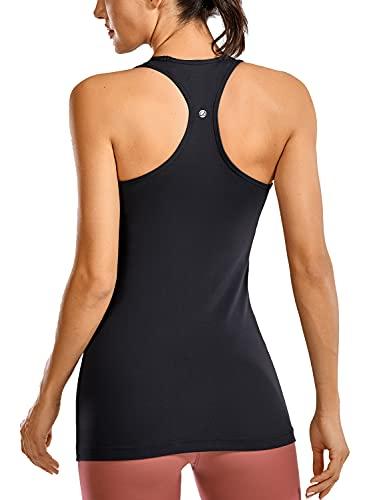CRZ YOGA Racerback Workout Tank Tops for Women Long Athletic Yoga Tops Sleeveless Shirts Slim Fit Black L