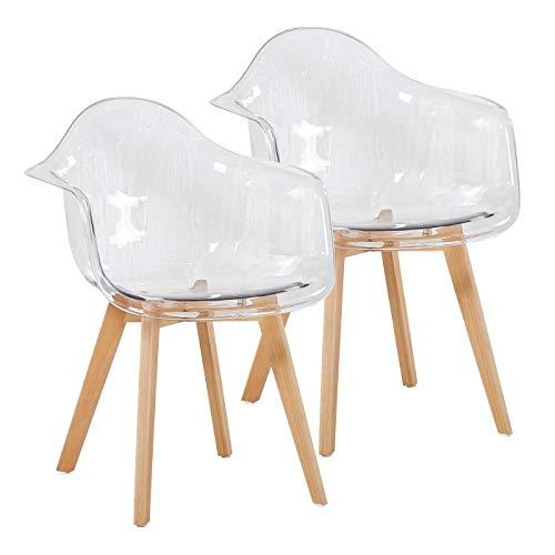 EGGREE Set di 2 Sedie Trasparenti Policarbonato Poltrona Design Moderne Sedie Sala da Pranzo, Gambe in Faggio