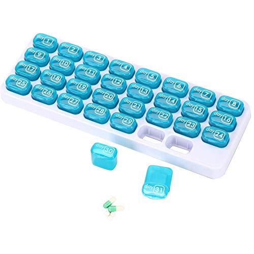 Veronivan 31-Tage-Pillen-Organizer Tragbare Pillenbox für die tägliche Aufbewahrung von Medikamenten und Vitaminen