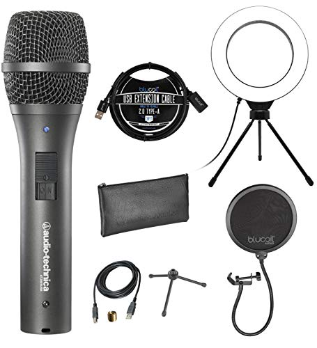 """Audio-Technica AT2005USB Cardioid Dynamic Microphone for PA Systems, Windows and Mac Bundle with Blucoil Pop Filter Windscreen, 3-FT USB 2.0 Type-A Extension Cable, and 6"""" Dimmable Selfie Ring Light"""
