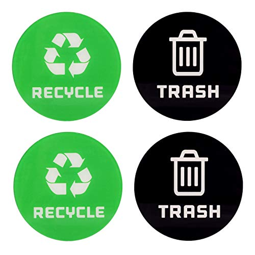 Kichwit Recycle Sticker for Trash Can, Recycle and Trash Plastic Sign, Acrylic, Pack of 4, 4' (Medium)