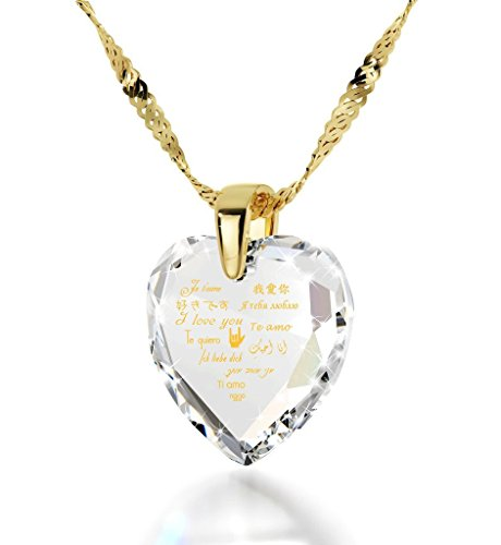 Nano Jewelry Gold Plated Heart Pendant I Love You Necklace 12 Languages 24k Gold Inscribed Clear Cubic Zirconia, 18""